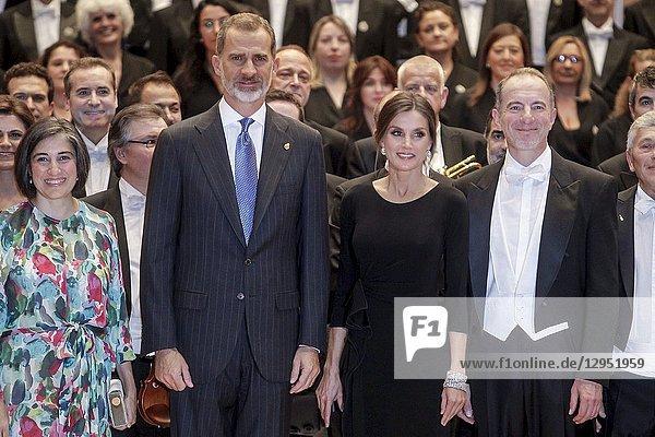 King Felipe VI of Spain  Queen Letizia of Spain attended '27th Musical Week' closing concert at the Principe Felipe Auditorium during the 'Princess of Asturias Awards 2018' on October 18  2018 in Oviedo  Asturias  Spain