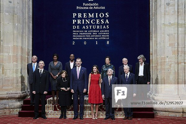 Queen Letizia of Spain  King Felipe of Spain attended an audience with Princesa de Asturias Awards 2018 winners at the Reconquista Hotel on October 19  2018 in Oviedo  Spain