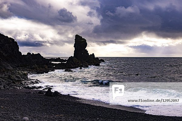 Kerling or the Troll woman at the Black Lava Pearl Beach on Snæfellsnes in West-Iceland.