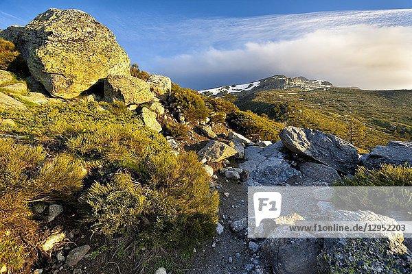 Penialara peak from the lagoons track. Sierra de Guadarrama. Madrid. Spain.