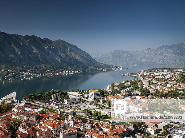 Kotor old town and balkan fjord landscape view in montenegro.