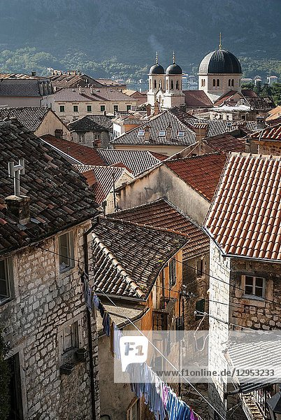 Old town traditional architecture houses view of kotor in montenegro.