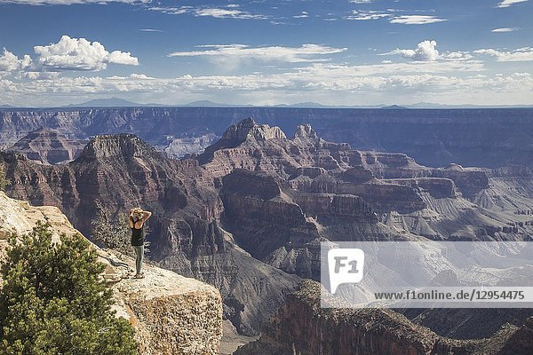 A woman is entranced by the immense beauty of the Grand Canyon at The North Rim  Arizona.