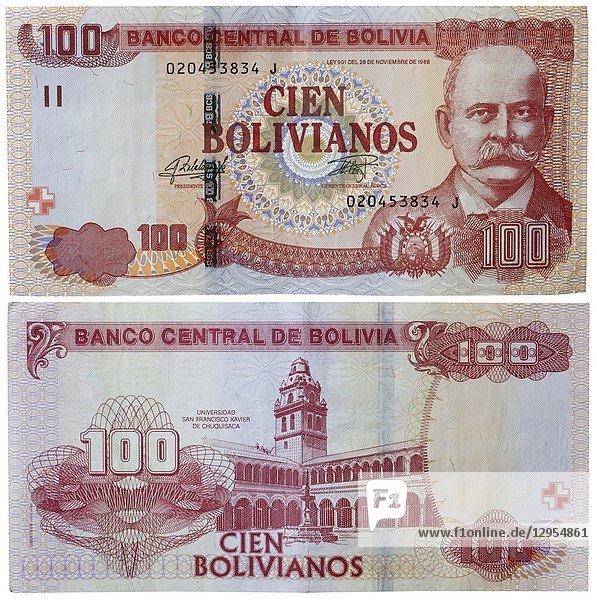 100 bolivianos banknote  Bolivia.