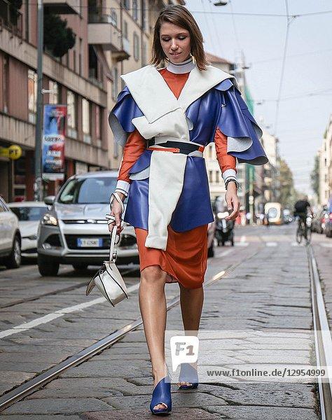 MILAN  Italy- September 19 2018: Landiana Cerciu on the street during the Milan Fashion Week.