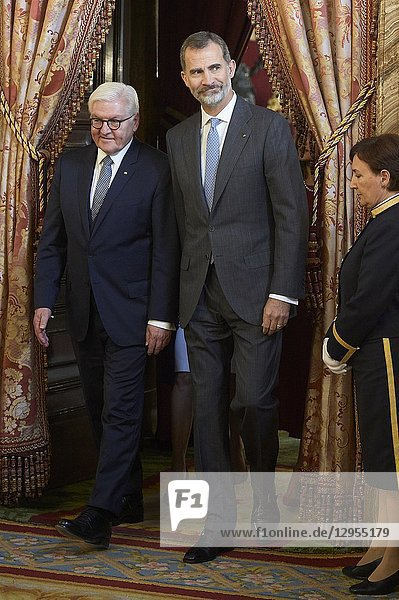 King Felipe VI of Spain  Frank-Walter Steinmeier attend an official lunch at Palacio Real on October 24  2018 in Madrid  Spain