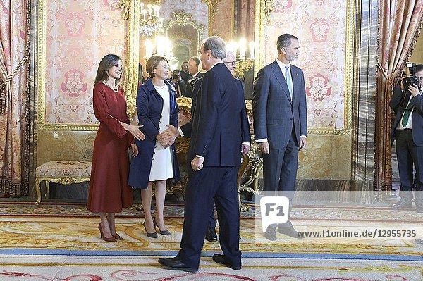 King Felipe VI of Spain  Queen Letizia of Spain  Frank-Walter Steinmeier  Elke Buedenbender attend an official lunch at Palacio Real on October 24  2018 in Madrid  Spain