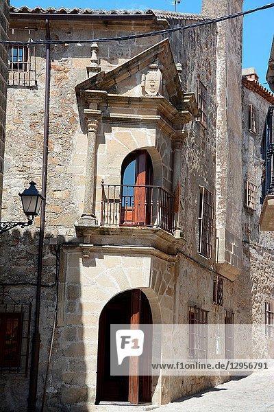 Casa de los Chaves Calderon  today the Palacio Chaves Hotel. Walled city. Trujillo  Caceres  Extremadura  Spain  Europe.