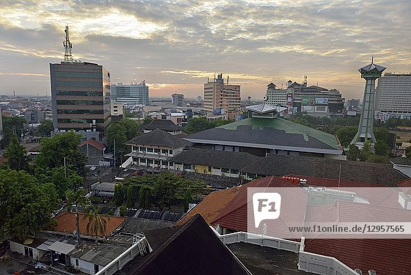 Overview of Semarang from the Hotel Santika Premiere  Java island  Indonesia  Southeast Asia.