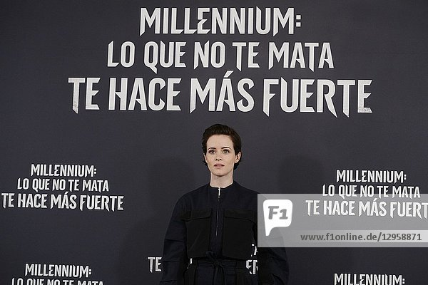 Claire Foy attends 'The Girl in the Spider's Web' photocall at Villamagna Hotel on October 30  2018 in Madrid  Spain