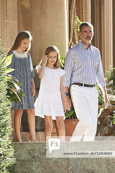 King Felipe VI of Spain,  Crown Princess Leonor,  Princess Sofia pose for the photographers at the Marivent Palace on July 31,  2017 in Palma de Mallorca,  Spain.