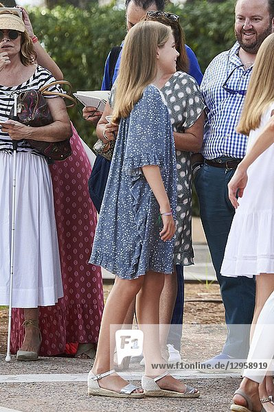 King Felipe VI of Spain,  Queen Letizia of Spain,  Crown Princess Leonor,  Princess Sofia pose for the photographers at the Marivent Palace on July 31,  2017 in Palma de Mallorca,  Spain.