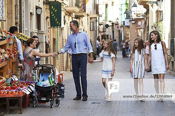 King Felipe VI of Spain  Crown Princess Leonor  Princess Sofia  Queen Letizia of Spain visit the Miro exhibition at Can Prunera museum in Soller on August 6  2017 in Balearic Island  Spain