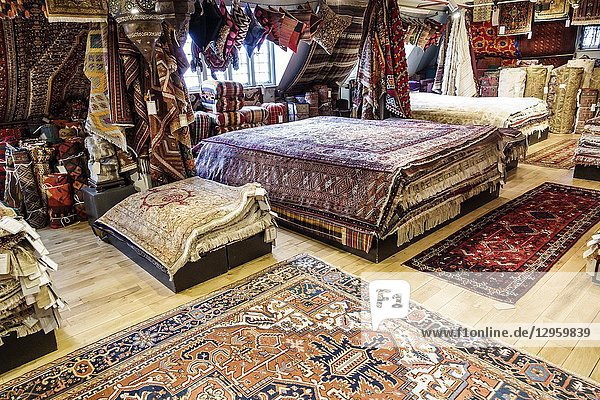 United Kingdom Great Britain England  London  Soho  Liberty Department Store  shopping  luxury brands upmarket  home decor  oriental rugs  display sale