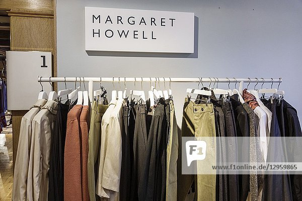 United Kingdom Great Britain England  London  Soho  Liberty Department Store  shopping  luxury brands upmarket  women's clothing  designer  Margaret Howell  display sale