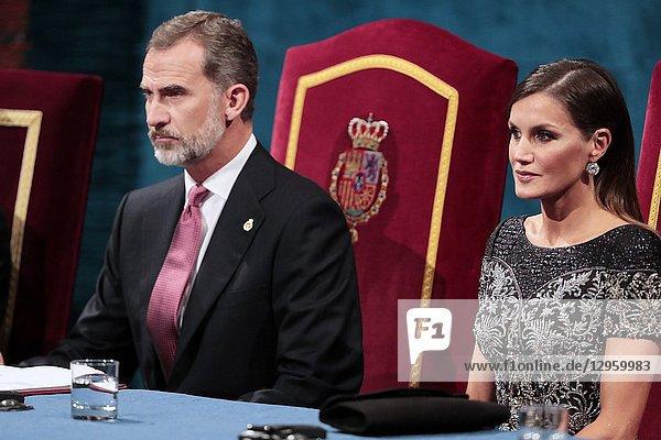 King Felipe VI of Spain  Queen Letizia of Spain attended the 'Princesa de Asturias Awards 2018 (Princess of Asturias awards)' ceremony on October 19  2018 in Oviedo  Spain