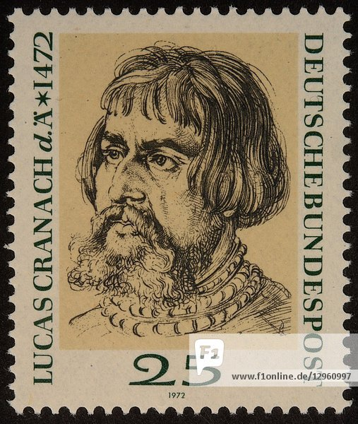 Lucas Cranach the Elder  a German Renaissance painter and printmaker in woodcut and engraving. Portrait on a German stamp 1972.