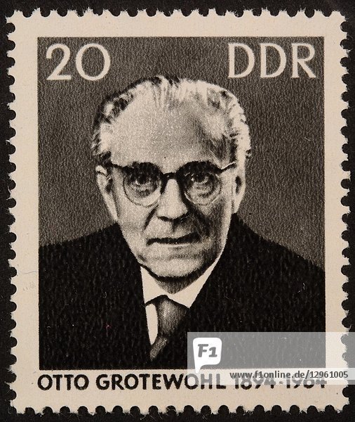 Otto Grotewohl  a German politician and the first prime minister of the German Democratic Republic. Portrait on a German stamp.
