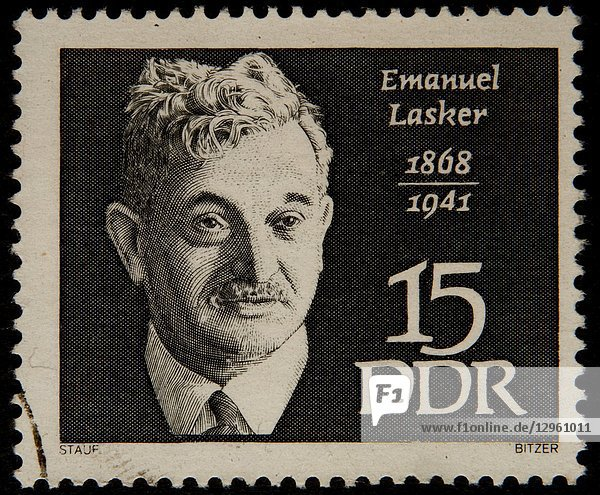 """Emanuel Lasker (1868 â. """" 1941)  a German chess player  mathematician  and philosopher. Portrait on a German stamp."""