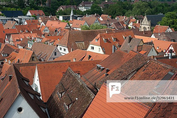 05. 06. 2017  Tuebingen  Baden-Wuerttemberg  Germany  Europe - An elevated city view of the roofscape of Tuebingen's old town.