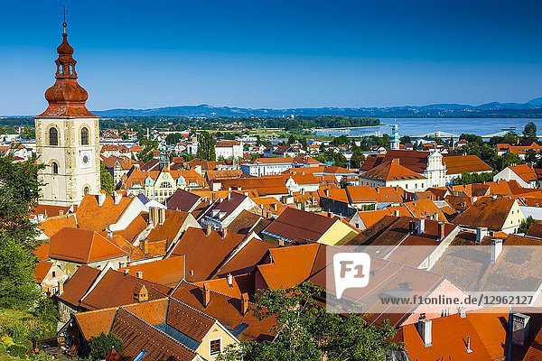 City view and town tower from the Castle. Ptuj. Styria region. Slovenia  Europe.
