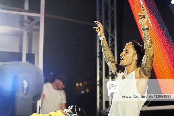 Marlon Flohr from DJ Bassjackers performing at music festival Starbeach Chersonissos  Crete  Greece  at 06. August 2018
