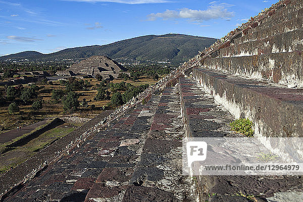Stairs on the Pyramid of the Sun and Pyramid of the Moon in Background  Pre-Columbian Site of Teotihuacan  UNESCO World Heritage Site  Mexico