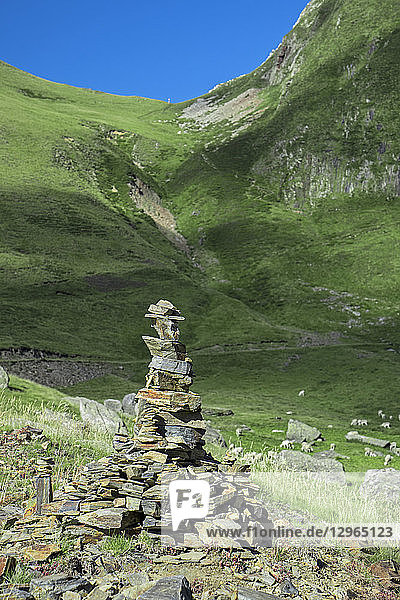 France  Ariege  artistic cairn at the Circus of Gerac  near Guzet