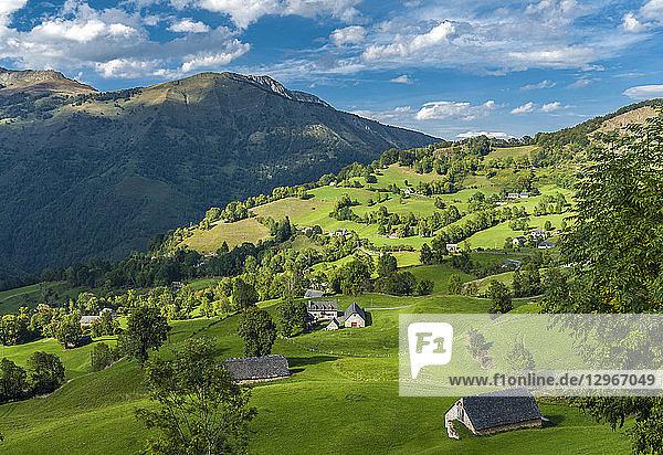 France  Pyrenees National Park  Occitanie region  Val d'Azun  Ouzoum valley near Arbeost  barns