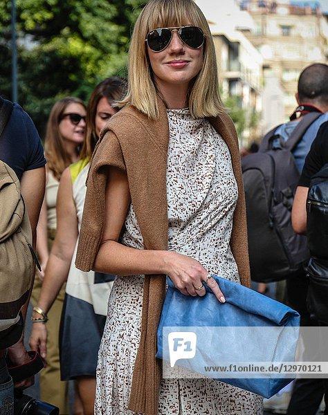 MILAN  Italy- September 19 2018: Lisa Aiken on the street during the Milan Fashion Week.