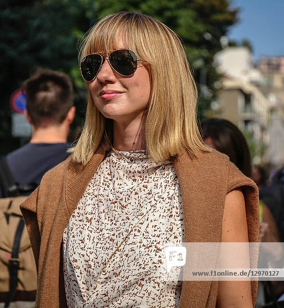 MILAN  Italy- September 19 2018: Lisa Aiken on the street during the Milan Fashion Week.