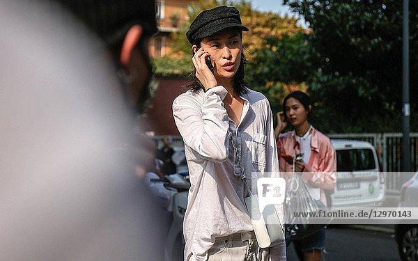 MILAN  Italy- September 19 2018: Chu Wong on the street during the Milan Fashion Week.