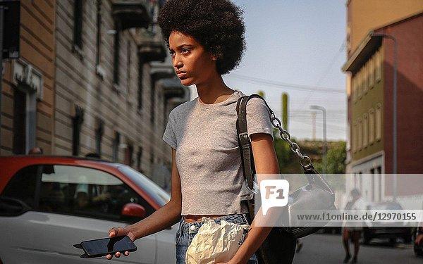 MILAN  Italy- September 19 2018: Manuela Sanchez on the street during the Milan Fashion Week.