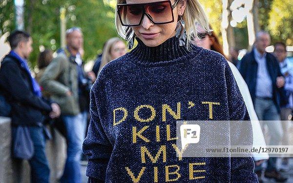 PARIS  France- September 26 2018: Anouki Areshidze on the street during the Paris Fashion Week.