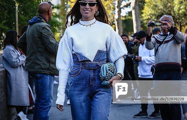PARIS  France- September 26 2018: Erika Boldrin on the street during the Paris Fashion Week.