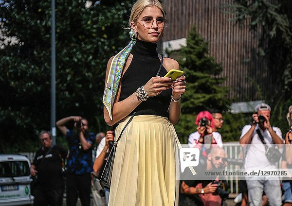 MILAN  Italy- September 19 2018: Caroline Daur on the street during the Milan Fashion Week.