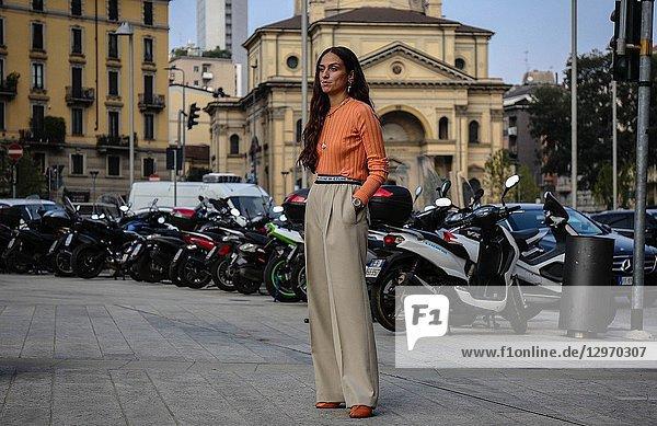 MILAN  Italy- September 19 2018: Erika Boldrin on the street during the Milan Fashion Week.