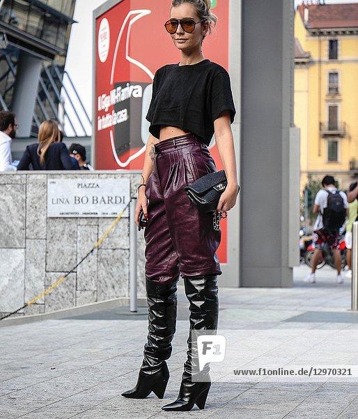 MILAN  Italy- September 19 2018: Chiara Capitani on the street during the Milan Fashion Week.
