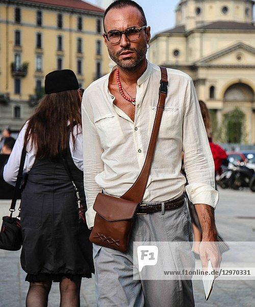 MILAN  Italy- September 19 2018: Luca Imbimbo on the street during the Milan Fashion Week.