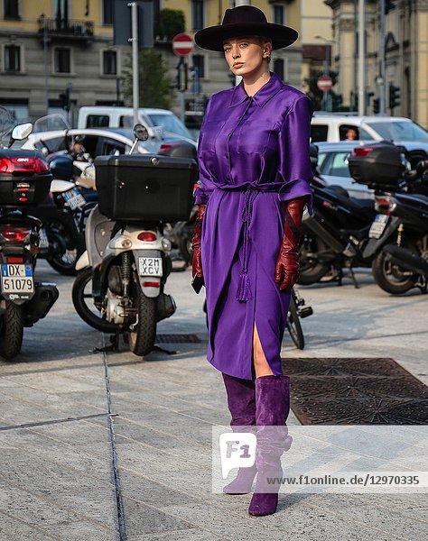 MILAN  Italy- September 19 2018: Caroline Vreeland on the street during the Milan Fashion Week.