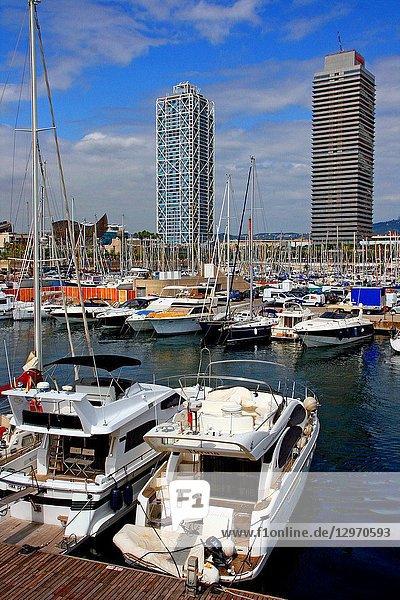 Marina  hotel Arts and Torre Mapfre  Barcelona  Catalonia  Spain