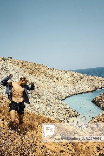 Young man at Seitan Limania Beach  Crete  Greece