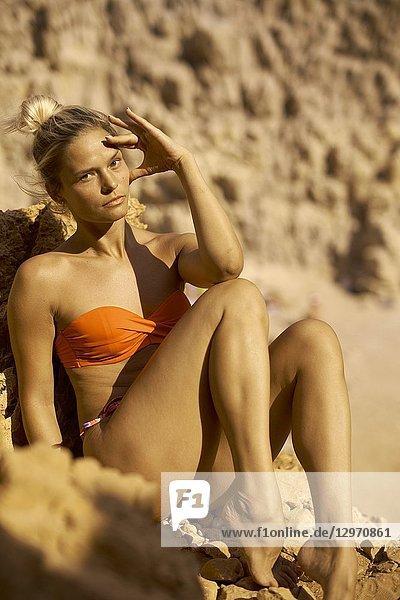 Woman at Seitan Limania Beach  Crete  Greece