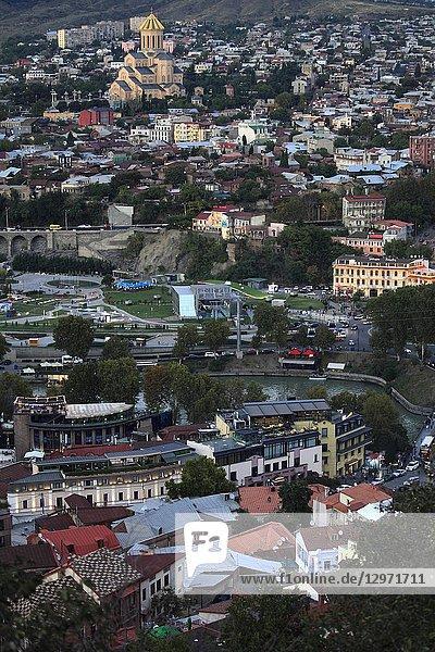 Georgia  Tbilisi  skyline  aerial view .