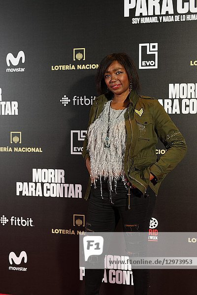 FRANCINE GALVEZ  journalist and presenter. The premiere of the Official Section of the documentary MORIR PARA CONTAR at the Madrid Premiere Week. Hernán Zin  the director  interviews other journalists and asks them about their traumas  their losses  their fears and their families on Nov 13  2018 in Madrid  Spain