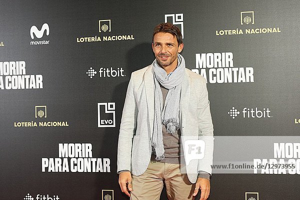 LUIS MOTTOLA  actor  presenter  coach and trainer. The premiere of the Official Section of the documentary MORIR PARA CONTAR at the Madrid Premiere Week. Hernán Zin  the director  interviews other journalists and asks them about their traumas  their losses  their fears and their families on Nov 13  2018 in Madrid  Spain