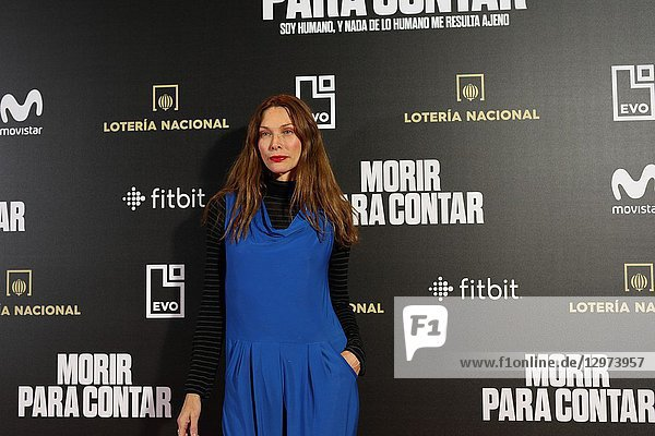 CRISTINA PIAGET,  Spanish actress and top model. The premiere of the Official Section of the documentary MORIR PARA CONTAR at the Madrid Premiere Week. Hernán Zin,  the director,  interviews other journalists and asks them about their traumas,  their losses,  their fears and their families on Nov 13,  2018 in Madrid,  Spain