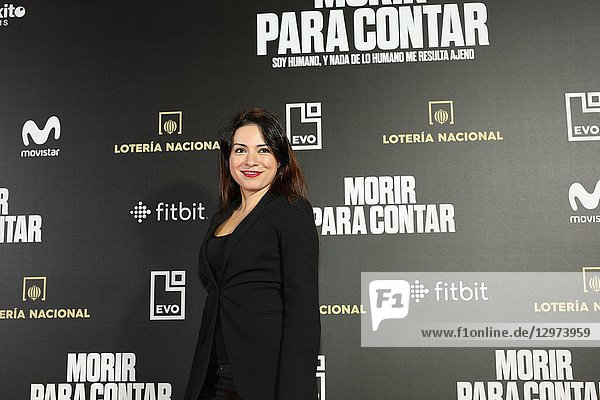 ANA ARIAS  Spanish actress. The premiere of the Official Section of the documentary MORIR PARA CONTAR at the Madrid Premiere Week. Hernán Zin  the director  interviews other journalists and asks them about their traumas  their losses  their fears and their families on Nov 13  2018 in Madrid  Spain