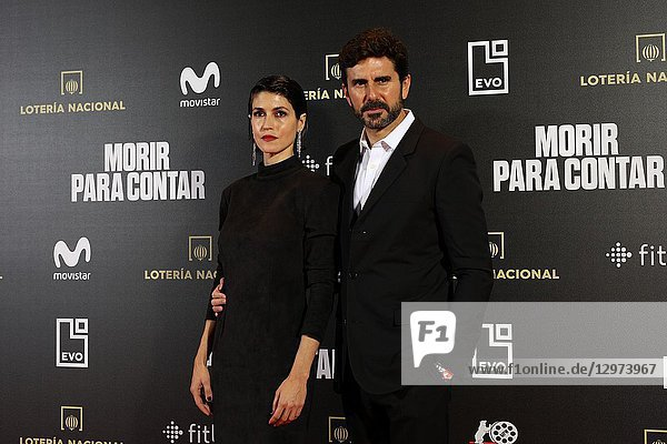 NEREA BARROS,  Spanish actress and HERNAN ZIN,  the director. The premiere of the Official Section of the documentary MORIR PARA CONTAR at the Madrid Premiere Week. Hernán Zin,  the director,  interviews other journalists and asks them about their traumas,  their losses,  their fears and their families on Nov 13,  2018 in Madrid,  Spain