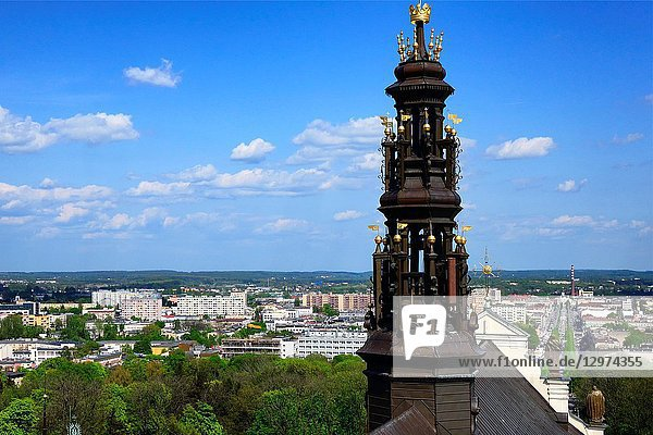 Panorama of Czestochowa  in front Jasna Gora tower  Jasna Gora - most famous Polish piligrimage site  sanctuary of Our Lady of Czestochowa -Queen of Poland and the Pauline monastery  National Shrine  the spiritual capital of Poland  Czestochowa  Silesian Voivodeship  southern Poland  Poland  Europe